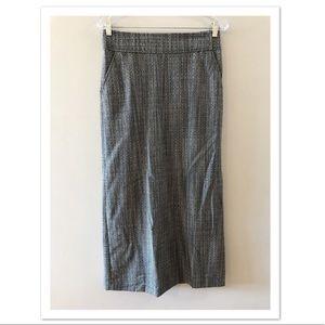 J. Crew Wool Black White Side Slit Maxi Skirt 4